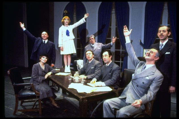 "Shelley Bruce as Annie (3R), Reid Shelton as Daddy Warbucks (R) and Raymond Thorne as FDR (2L) in a scene from the Broadway production of the musical ""Annie.""."